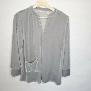 Soft Surroundings Emmaline Velvet Tunic Top Gray